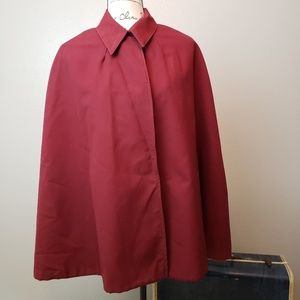 Vintage Deep Red CAPE Woolly Lined One Size